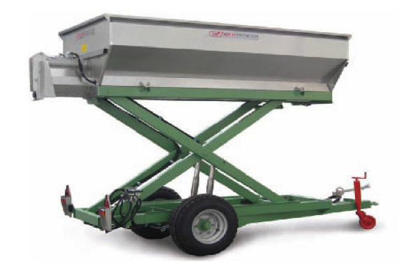 HARVESTING TRAILER with hydraulic lifting